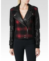 PAIGE - Red Shelley Bomber Leather Mix - Lyst