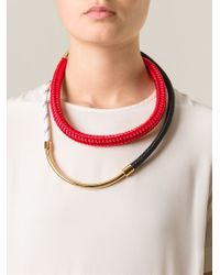 Marni - Red Contrasting Panel Necklace - Lyst