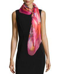 Ferragamo | Pink Grace-print Silk Scarf | Lyst