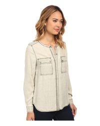 Two By Vince Camuto - Natural Long Sleeve Pastel Fade Collarless Utility Shirt - Lyst