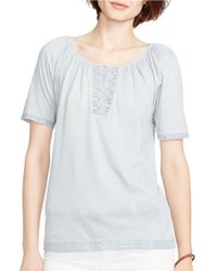 Lauren by Ralph Lauren | Blue Eyelet-trimmed Cotton Top | Lyst