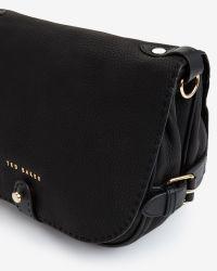 Ted Baker - Black Leather Saddle Bag - Lyst