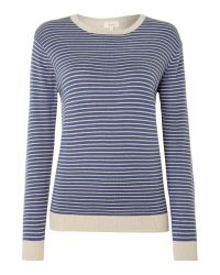 Linea Weekend | Blue Colourblock Feeder Stripe Panel Jumper | Lyst