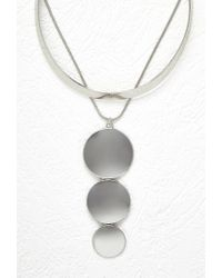 Forever 21 - Metallic Disc Pendant And Collar Necklace Set - Lyst