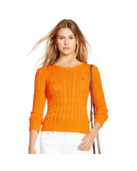 Polo Ralph Lauren - Orange Cable-knit Cotton Sweater - Lyst
