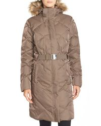 The North Face - Brown 'metrolina' Down Parka With Removable Faux Fur Trim Hood - Lyst