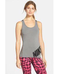 Nike | Gray 'pro' Dri-fit Logo Tank | Lyst