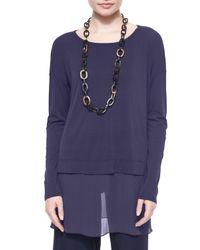 Eileen Fisher - Blue Silk Jersey Layered Boxy Tunic - Lyst