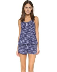 Splendid | Blue Piped Cutie Short Pj Set - Classic Paisley | Lyst