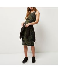 River Island - Brown Khaki Camo Print Dress - Lyst