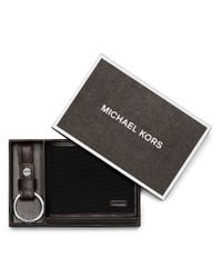 Michael Kors | Gray Windsor Leather Card Case And Key Fob Set for Men | Lyst