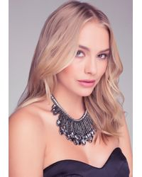 Bebe - Gray Crystal Fringe Necklace - Lyst
