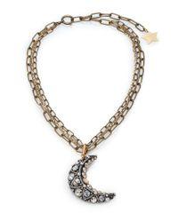 Lanvin | Metallic Crystal Moon Long Pendant Necklace | Lyst