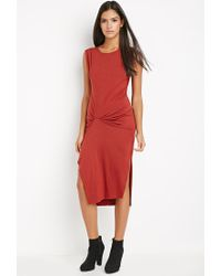 Forever 21 | Contemporary Gathered Midi Dress | Lyst