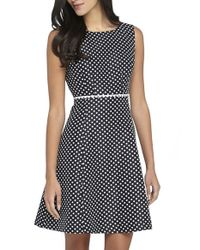 Tahari | Gray Polka Dot Jacquard Fit & Flare Dress | Lyst