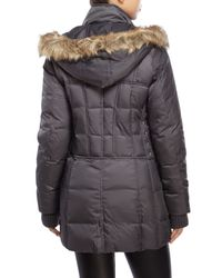 Betsey Johnson - Gray Hooded Faux Fur Trim Puffer Coat - Lyst
