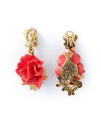 Oscar de la Renta | Pink Floral Clip-On Earrings | Lyst