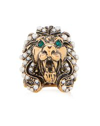 Gucci | Green Crystal And Pearl-Embellished Lion Ring | Lyst