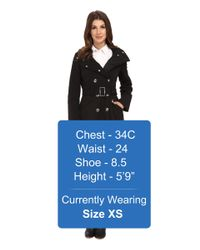Calvin Klein - Black Double Breasted Coat W/ Rib Detail - Lyst