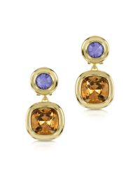 FORZIERI | Multicolor Purple and Orange Crystal Earrings | Lyst