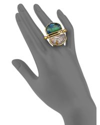 A Peace Treaty | Metallic Mani Azurite Malachite & Red Lace Agate T-bar Double Dome Ring | Lyst