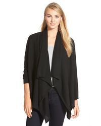 Halogen | Black Wool & Cashmere Drape Front Cardigan | Lyst