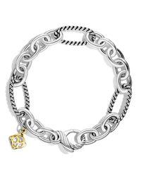 David Yurman   Metallic Oval Figaro Chain Bracelet With Gold   Lyst