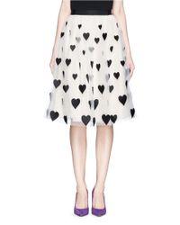 Alice + Olivia - Multicolor 'catrina' Heart Appliqué Tulle Midi Skirt - Lyst