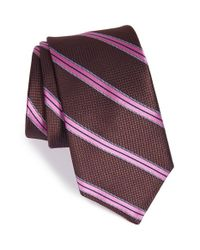 Ted Baker | Brown 'sutton Stripe' Silk Tie for Men | Lyst