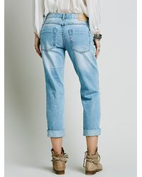Free People - Blue Awesome Destroyed Baggies - Lyst
