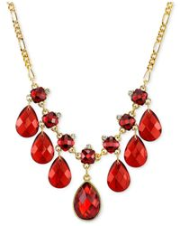 2028 | Red Gold-tone Siam Pear-shaped Stone Bib Necklace | Lyst