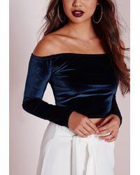 Missguided - Blue Velvet Bardot Crop Top Navy - Lyst