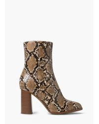 Mango - Black Snake-effect Ankle Boots - Lyst
