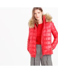 J.Crew | Red Short Quilted Puffer Jacket With Faux-fur Hood | Lyst