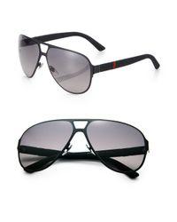 Gucci - Black Metal Navigator Sunglasses for Men - Lyst