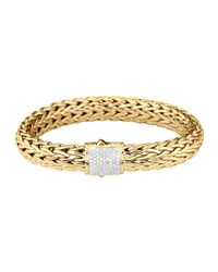 John Hardy | Metallic Classic Chain 18k Gold & Diamond Large Bracelet | Lyst