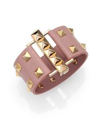 Valentino | Pink Rockstud Wide Leather Cuff Bracelet | Lyst