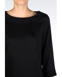 Armani Jeans | Black Jacquard Blouse | Lyst