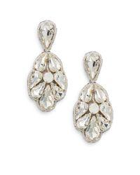 Deepa Gurnani | Natural Ice Crystal & Suede Drop Earrings | Lyst