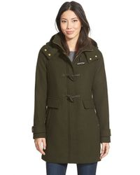 Ellen Tracy Black Toggle Wool Blend Twill Duffle Coat