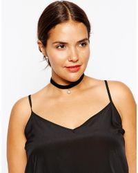Asos Curve | Black Velvet Faux Pearl Choker Necklace | Lyst