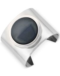 Vince Camuto | Black Silver-tone Wide Cuff Stone Ring | Lyst