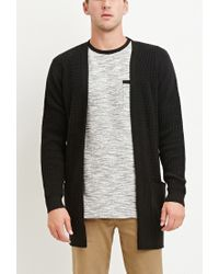 Forever 21 | Black Waffle Knit Cardigan for Men | Lyst