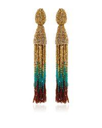 Oscar de la Renta | Multicolor Ombre Beaded Tassel Earrings | Lyst