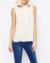 ASOS - Natural Pretty Sleeveless Blouse With Shirring Detail - Lyst