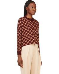 Marni - Red Burgundy And Peach Check Knit Sweater - Lyst
