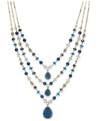 INC International Concepts | Blue Gold-tone Teal Beaded Three-row Necklace | Lyst