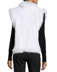 Belle Fare White Knitted Rabbit Fur Vest W/fox Fur Trim