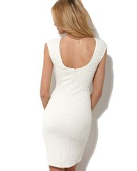 AKIRA | White Quilted Bodycon Dress | Lyst