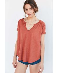 Ecote - Red Nora Notch-neck Tee - Lyst